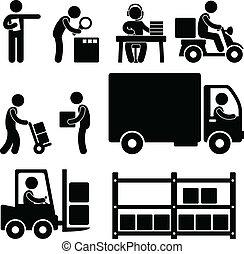 logistiek, magazijn, aflevering, pictogram