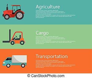 logistiek, plat, moderne, lading, vorkheftruck, vehicles., creatief, vector, ontwerp, vrachtwagen, landbouw, tractor