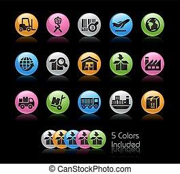 logistiek, set, reeks, industrie, -, gelcolor, pictogram