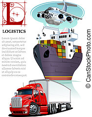 logistiek, transport., set, mockup, lading, vector, spotprent