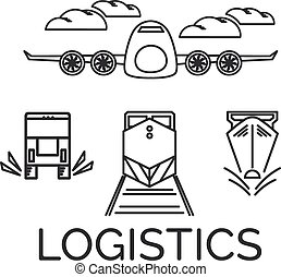 logistiek, vector, eps10, iconen, vliegtuig, set., illustratie, trein, ship.., vrachtwagen