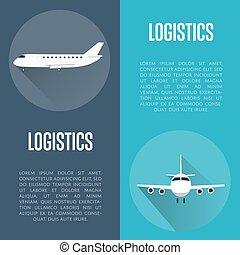 logistiek, vliegtuig, set, spandoek