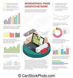 logistiek, zijn, gebruikt, netwerk, zakelijk, workflow, opties, globaal, getal, illustratie, op, diagram, opmaak, vector, groenteblik, infographics, stap, spandoek, web, design.