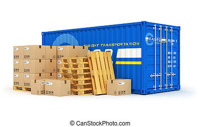 logistik, begreb, last, forsendelse