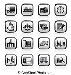 logistik, forsendelse, iconerne