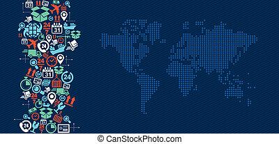logistik, kort, illustration., iconerne, forsendelse, plaske, verden