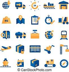 logistik, sæt, iconerne