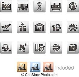 logistik, sæt, series, industri, -, metalbox, ikon