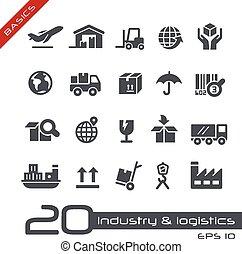 logistique, élémentsessentiels, &, industrie, icônes, -
