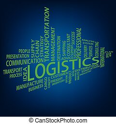 logistique, étiquette, nuage