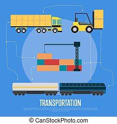 logistique, bannière, global, transport