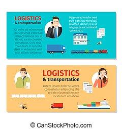 logistique, bannières, transport