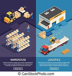 logistique, bannières, vertical, entrepôt