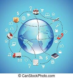 logistique, bleu, autour de, icônes, globe, il, fond, la terre