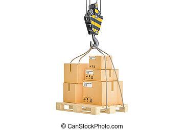 logistique, bois, expédition, palette, rendre, hook., pendre, grue, 3d, colis, concept