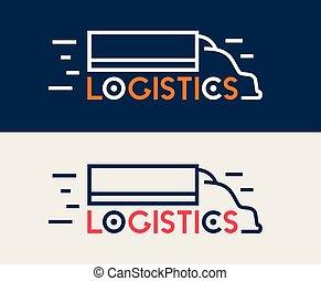logistique, business, compagnie, symbole., livraison, vecteur, camion, icon., logo.