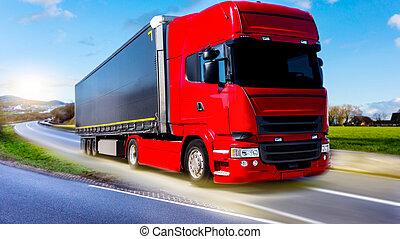 logistique, camion, bâtiment