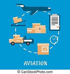 logistique, cargaison, air, conception, plat