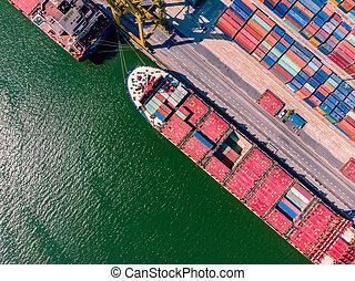 logistique, cargaison, chargement, aérien, business, plane., récipient, exportation, logistique, importation, transport, bateau, international., concept., vue