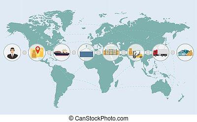 logistique, cargaison, concept, service, carte, expédition, livraison, infographics., mondiale