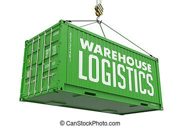 logistique, cargaison, container., -, vert, pendre, entrepôt