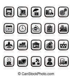 logistique, cargaison, expédition, icônes