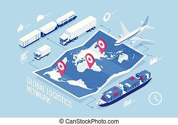 logistique, cargaison, isométrique, ensemble, transport, réseau, icônes, on-time, grand, global, rail, illustration, camionnage, livraison, véhicules, nombres, expédition, porter, maritime, air, conçu