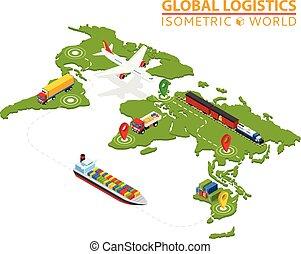 logistique, cargaison, isométrique, fourgon, service., chain., drawing., importation, infographic., global, livraisons, exportation, ensured, logistique, véhicule, camion, bateau