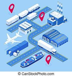 logistique, cargaison, isométrique, véhicules, récipient, cargaison, entrepôt, on-time, global, rail, maritime, delivery., grand, ship., nombres, expédition, porter, aérez transport, network., conçu