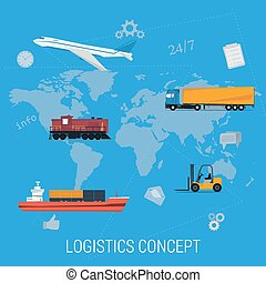 logistique, carte, concept, transport, mondiale