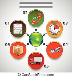 logistique, cercles, autour de, icônes, infographics, la terre