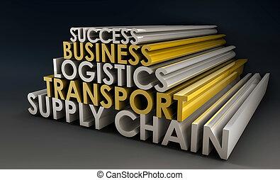 logistique, chaîne, business, fourniture