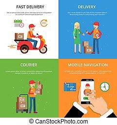 logistique, clients, concept, service., images, livraison, thème, ensemble