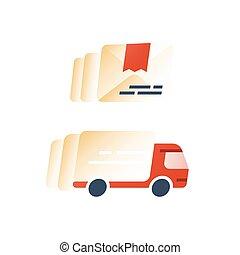 logistique, compagnie, mouvement, exprès, livraison rapide, camion, services, expédition