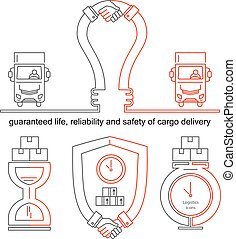 logistique, concept, business, handhsake, icons., lampe, ligne mince