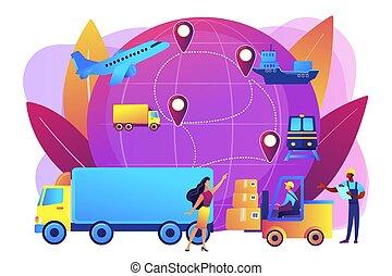 logistique, concept, business, illustration., vecteur