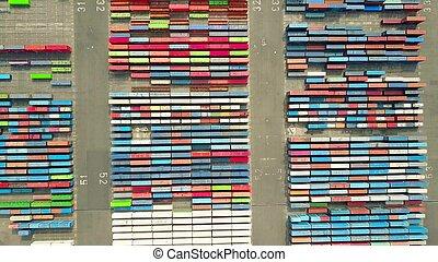 logistique, concept, coup, aérien, grand sommet, port, importation, yard, récipient, vue., exportation