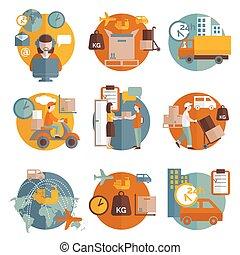 logistique, concept, ensemble, icônes