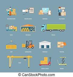 logistique, concept, ensemble, transport, icônes