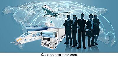 logistique, concept, equipe affaires
