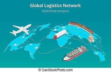 logistique, concept, global, site, nombres, porter, air, toile, isométrique, réseau, on-time, 3d, plat, transport, cargaison, rail, illustration, livraison, maritime, véhicules, expédition, camionnage, grand, vecteur, conçu