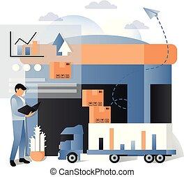logistique, concept, illustration, livraison, vecteur, services