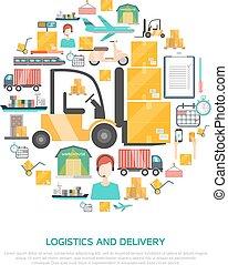 logistique, concept, transport