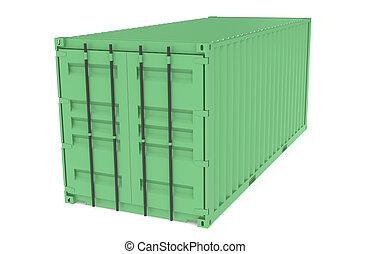 logistique, container., série, partie, vert, entrepôt