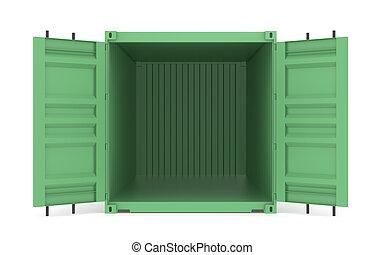 logistique, container., série, partie, vert, entrepôt, ouvert