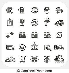 logistique, ensemble, expédition, icônes