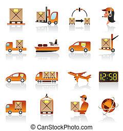 logistique, ensemble, icônes
