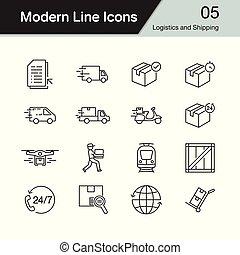 logistique, ensemble, moderne, icons., 5., conception, expédition, ligne