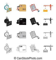 logistique, ensemble, monochrome, style, chargement, récipient, icônes, temps, noir, stockage, symbole, web., isométrique, collection, livraison, illustration, dessin animé, boîte, barre, contour, code, vecteur, crane., document