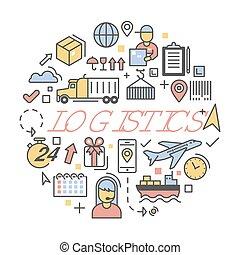 logistique, ensemble, service., icônes, expédition, livraison, vecteur, illustration